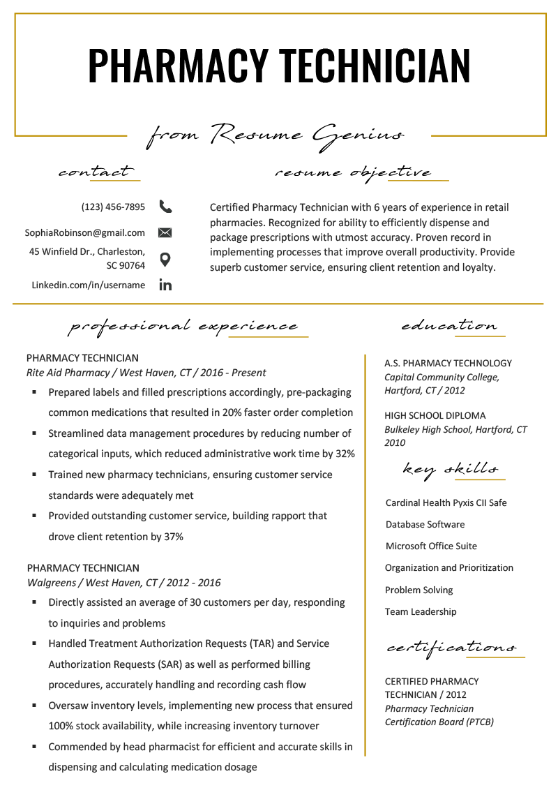 resume profile examples pharmacist