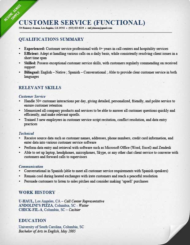 Customer Service Resume Samples  Writing Guide - Summary Of Skills Resume Sample