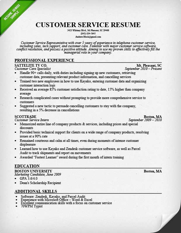 Customer Service Resume Samples  Writing Guide - resume for customer service representative