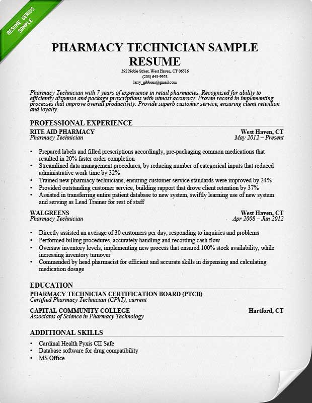 Pharmacy Technician Resume Sample \ Writing Guide - tech resume examples
