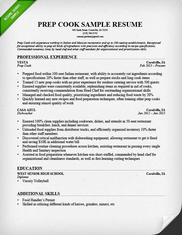 Prep Cook and Line Cook Resume Samples Resume Genius - resume job descriptions