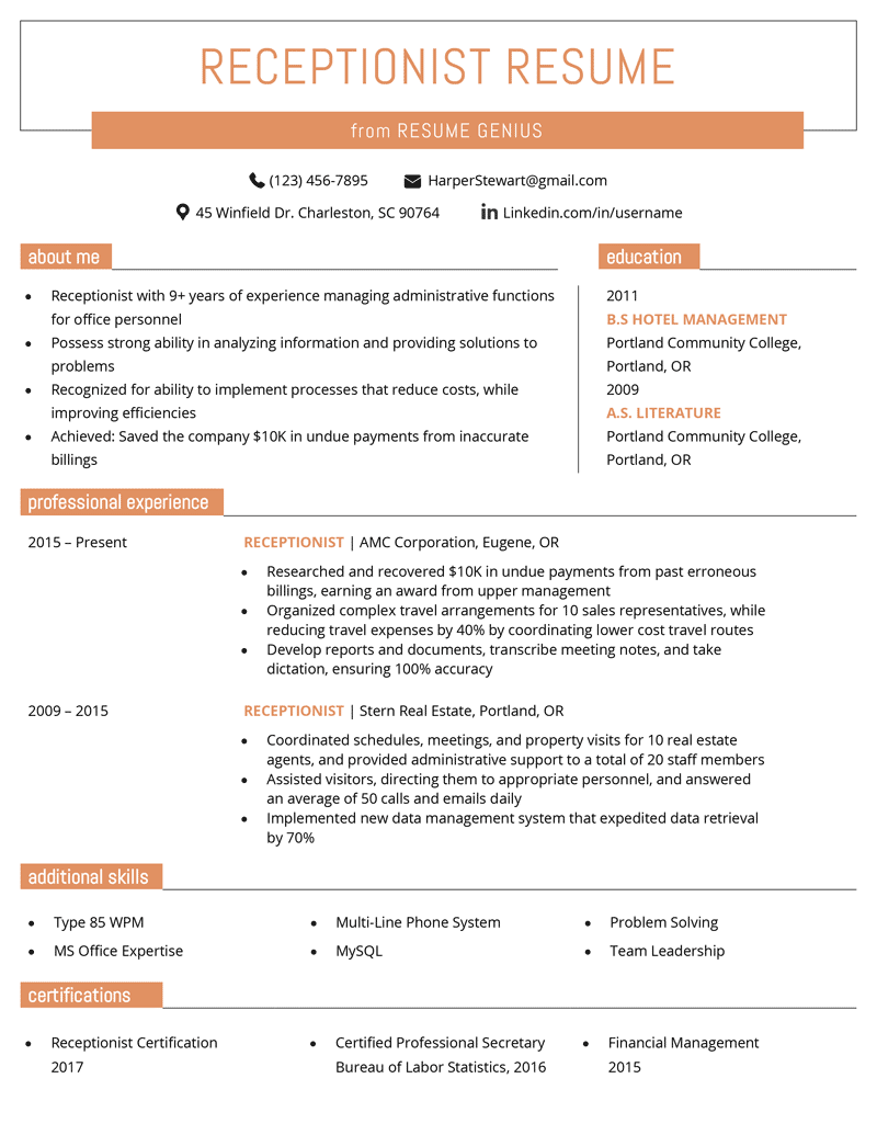 reception manager cv examples