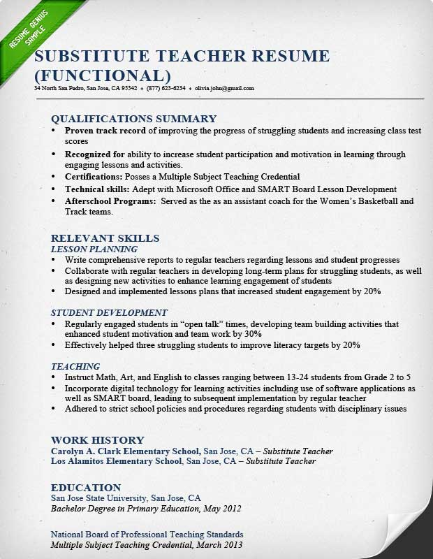 Teacher Resume Samples  Writing Guide Resume Genius - relevant experience resume sample