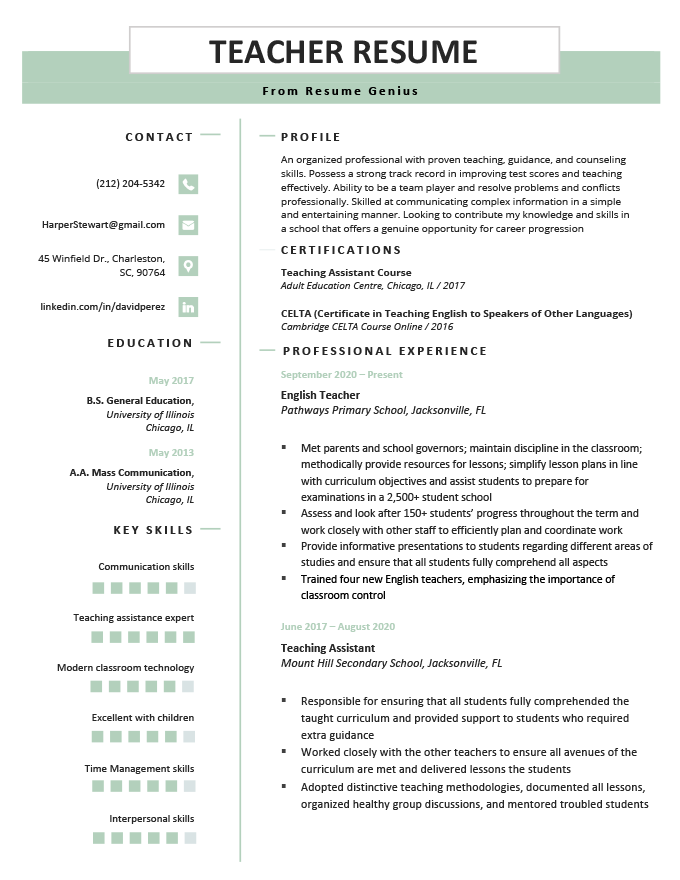 teacher resume cv samples