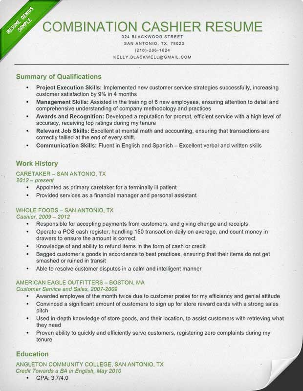 Cashier Resume Sample \ Writing Guide Resume Genius - sample combination resume template
