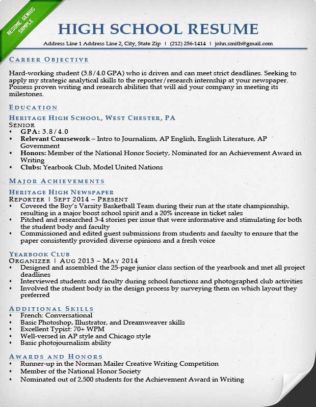 Internship Resume Samples  Writing Guide Resume Genius - resume templates for school students