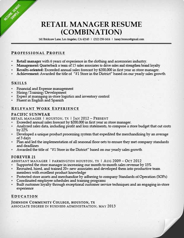 Retail Sales Associate Resume Sample  Writing Guide RG - retail sales resume template