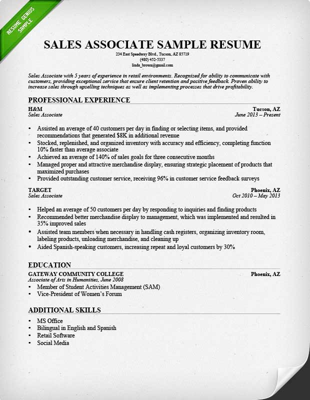 Retail Sales Associate Resume Sample  Writing Guide RG - resumes for sales