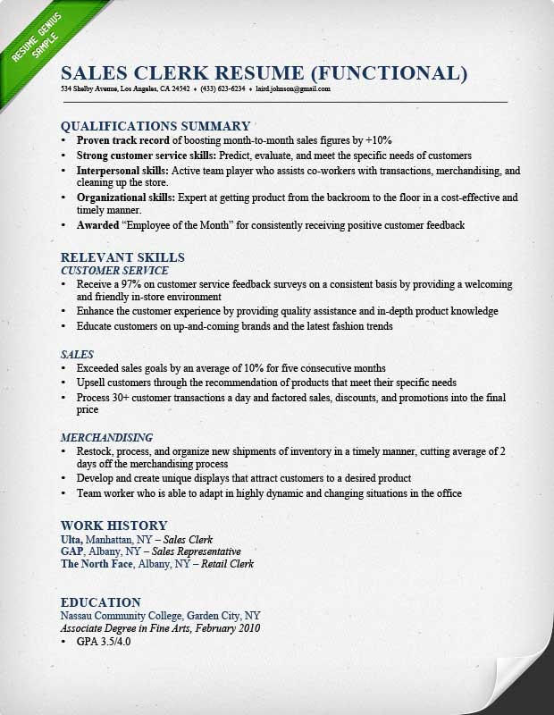 Retail Sales Associate Resume Sample  Writing Guide RG - retail sales clerk sample resume