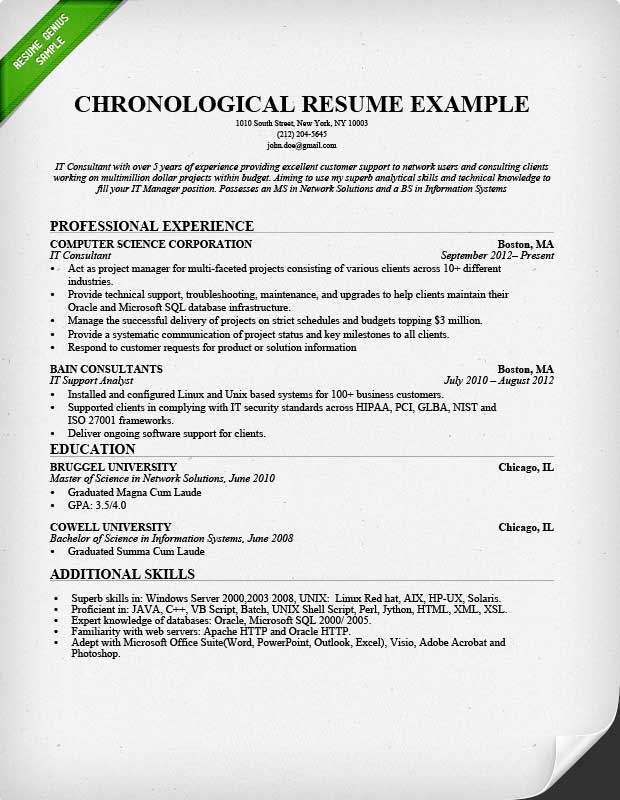 chronological resume format marketing entry level chronological