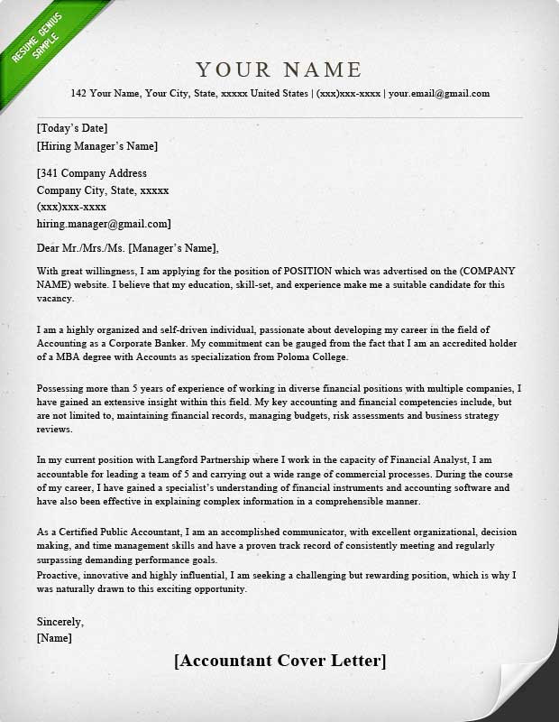 Accounting  Finance Cover Letter Samples Resume Genius - Cover Letters Examples