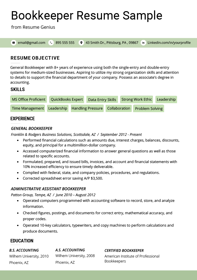 sample resume office manager bookkeeper