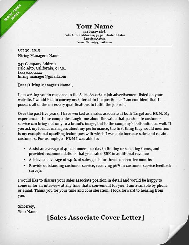 Salesperson  Marketing Cover Letters Resume Genius - good resume cover letter examples