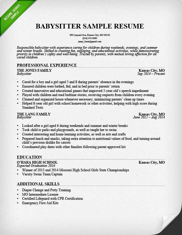 Babysitter Resume Example  Writing Guide Resume Genius - how to make a resume for first job