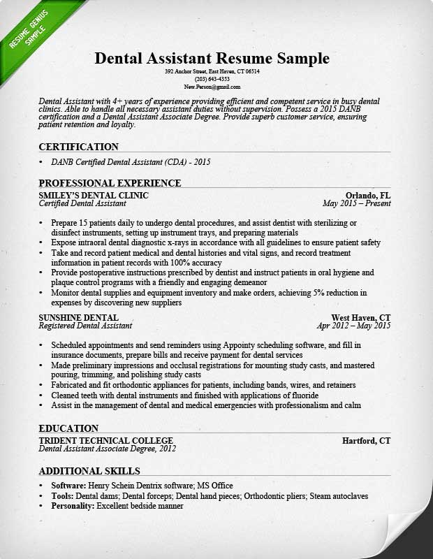 Dental Assistant Resume Sample  Tips Resume Genius - Example Of Resume Experience