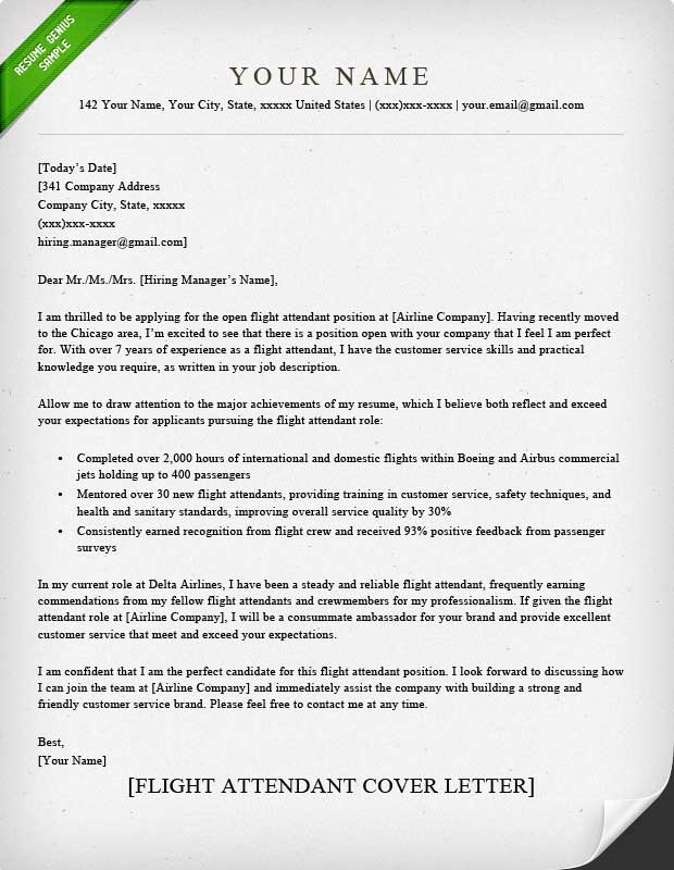 Flight Attendant Cover Letter Sample Resume Genius - example cover page for resume