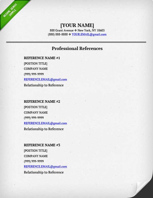 References on a Resume? Resume Genius - sample of resume reference page