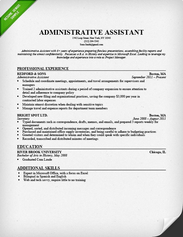 Administrative Assistant Resume Sample Resume Genius - secretary qualifications resume