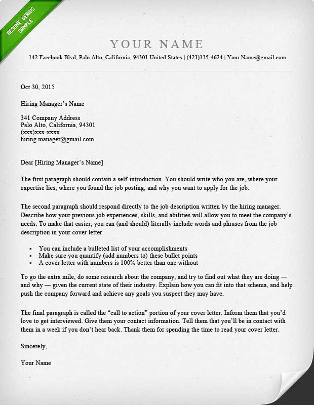 40 Battle-Tested Cover Letter Templates for MS Word Resume Genius - Cover Letter And Resume Template