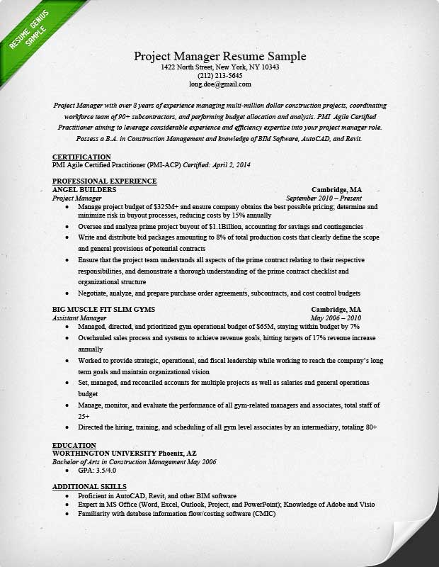 Project Manager Resume Sample  Writing Guide RG - Project Manager Resume Format