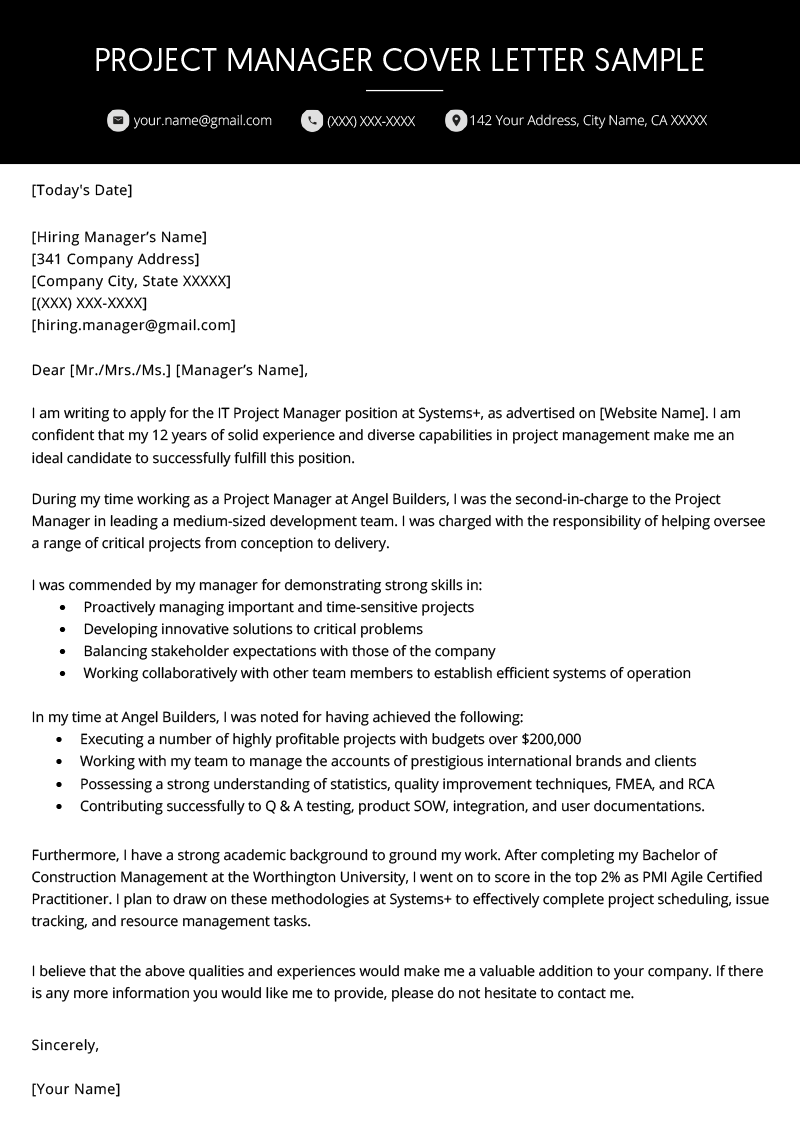 resume cover letter for project manager