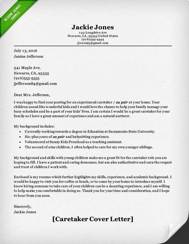 caretaker resume examples