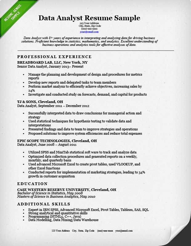 Data Analyst Resume Sample Resume Genius - statistical consultant sample resume