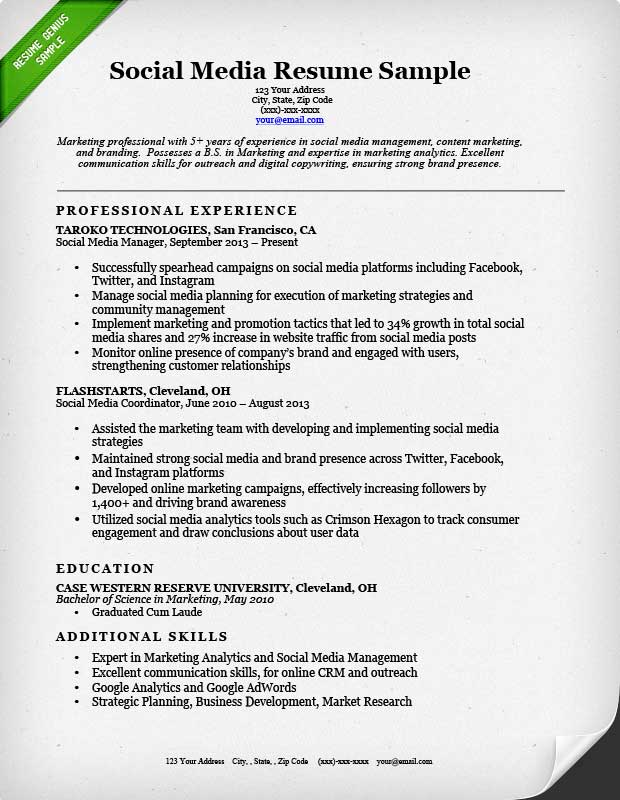 Social Media Resume Sample Resume Genius - Resume Taglines