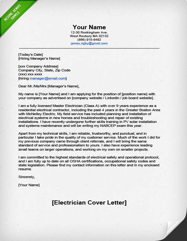 Professional Electrician Cover Letter Resume Genius - example of cover page for resume