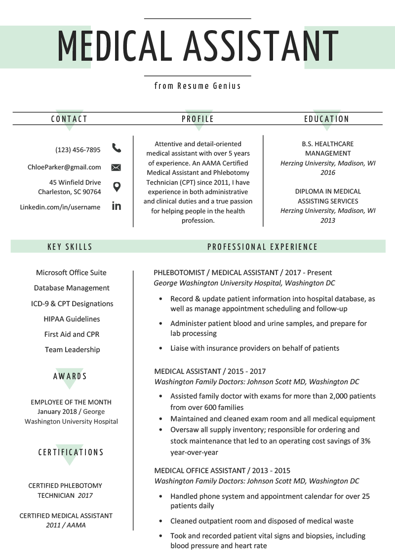medical assistant resume for pain management