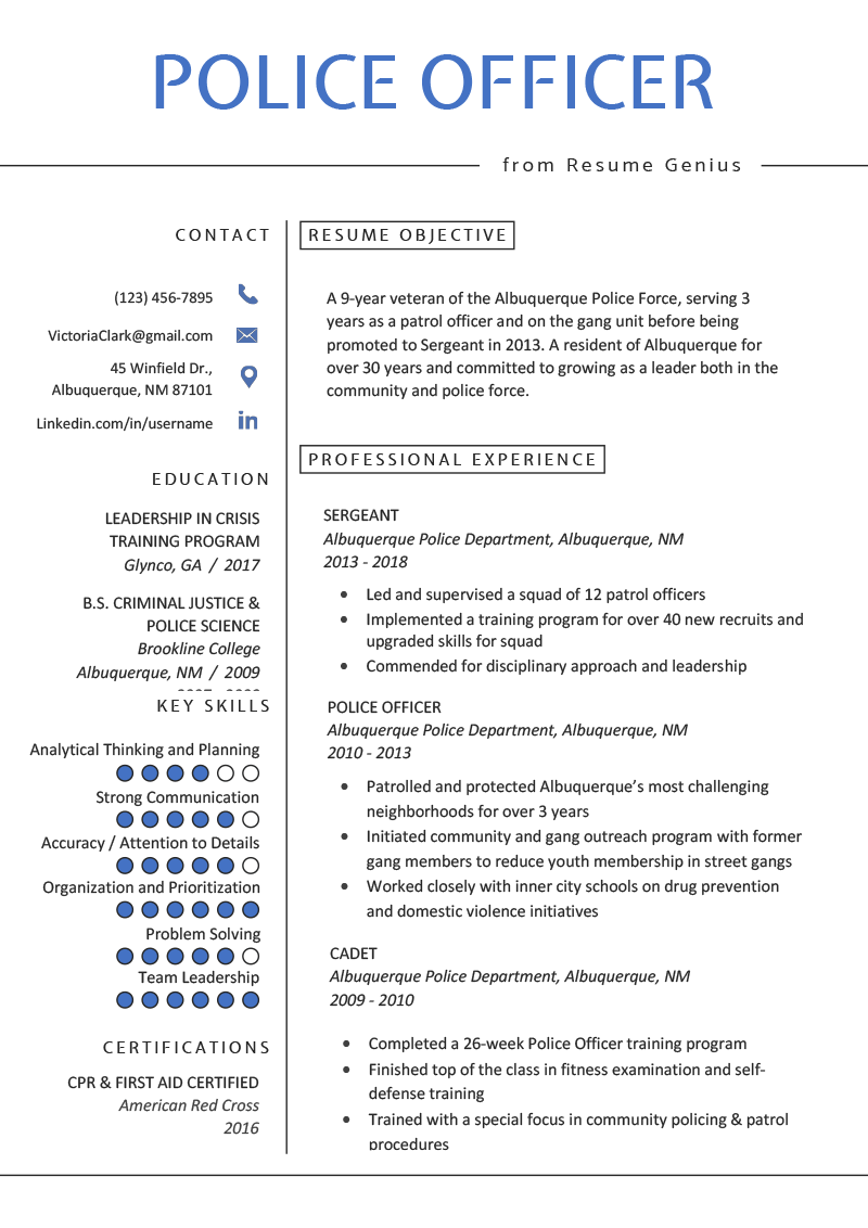 former army officer cv