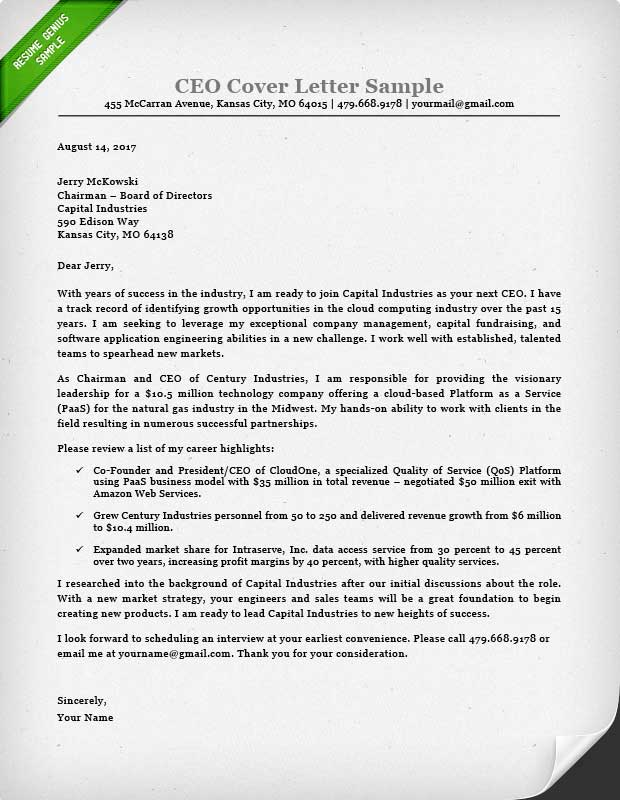 Executive Cover Letter Examples CEO, CIO, CTO Resume Genius - executive cover letter