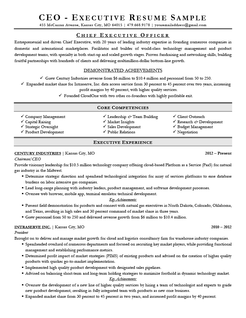 personal assistant to ceo cv word format