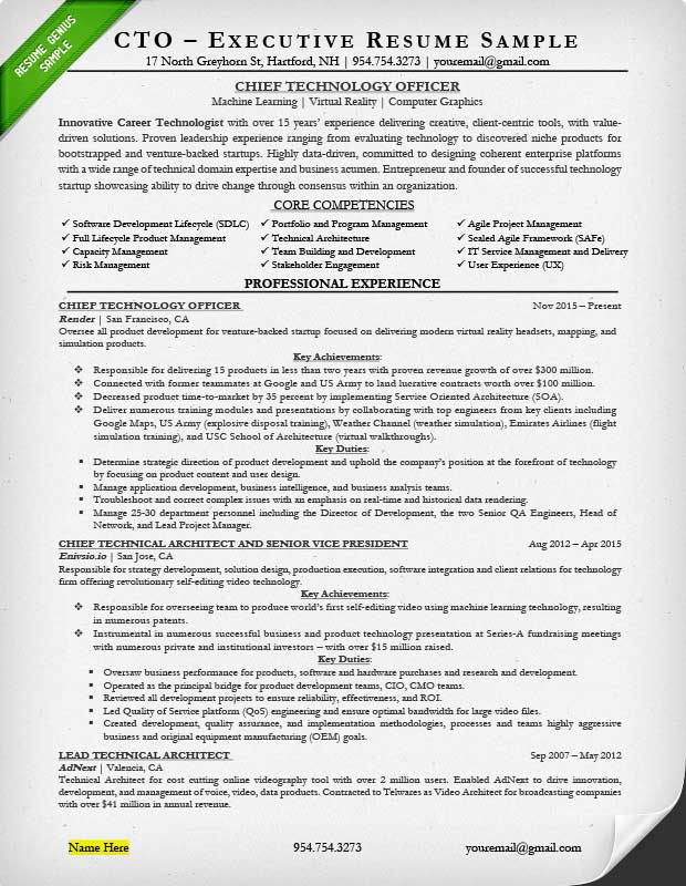 Executive Resume Examples  Writing Tips CEO, CIO, CTO - executive sample resumes