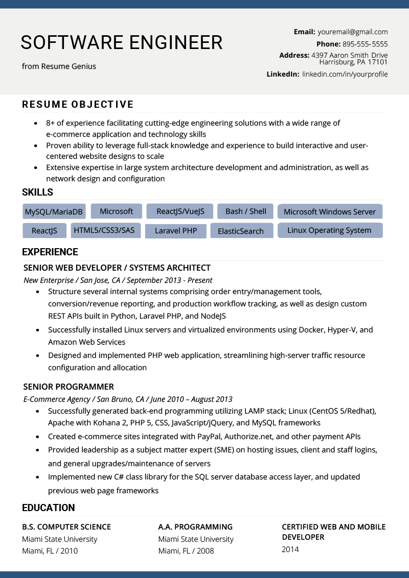 resume objective examples for software developer