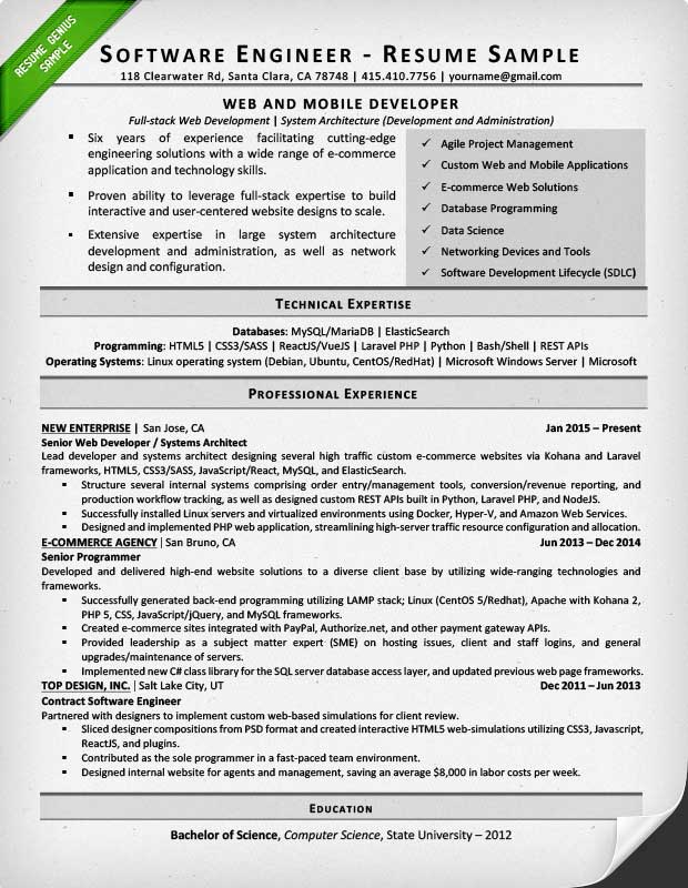 Software Engineer Resume Example  Writing Tips Resume Genius - Resume Format For Experienced Software Engineer
