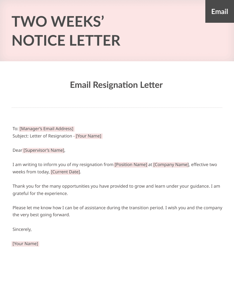 Two Weeks Notice Letter Sample - Free Download - example of resignation letters