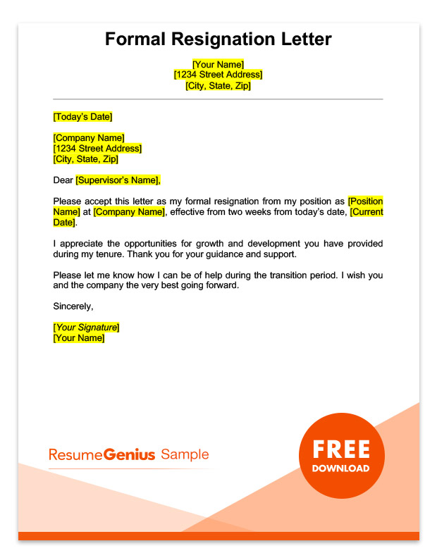 resume genius two weeks notice