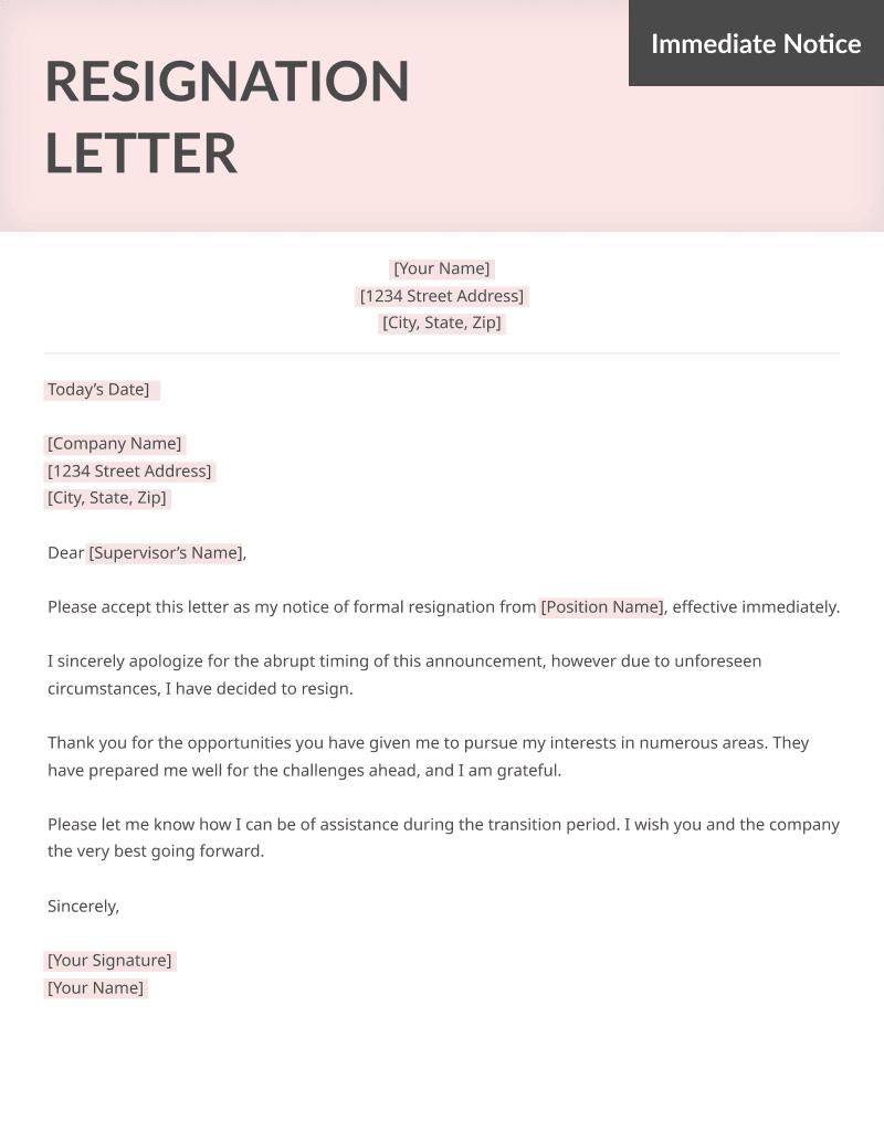 resume genius resignation letter