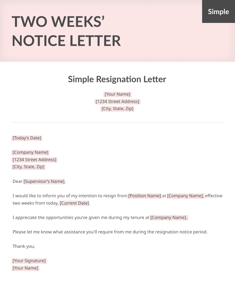 Two Weeks Notice Letter Sample - Free Download