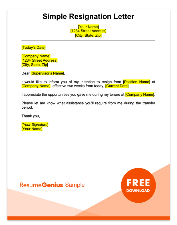 Two Weeks Notice Letter Sample - Free Download - Simple Resignation Letter