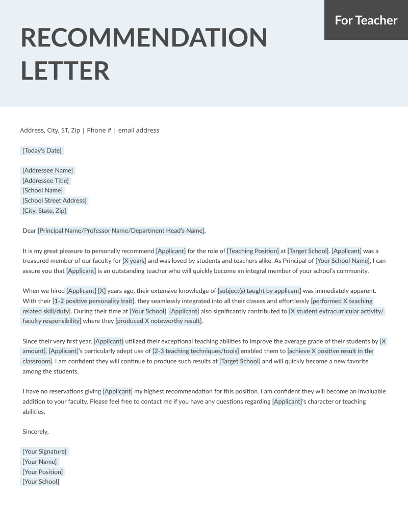 Student and Teacher Recommendation Letter Samples 4 Templates RG - Letter To A Teacher