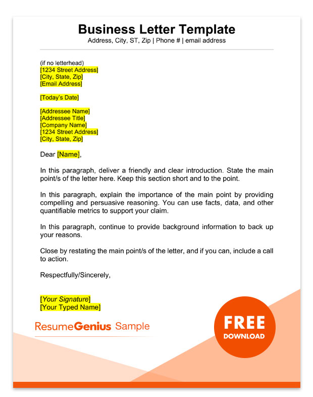 Sample Business Letter Format 75+ Free Letter Templates RG