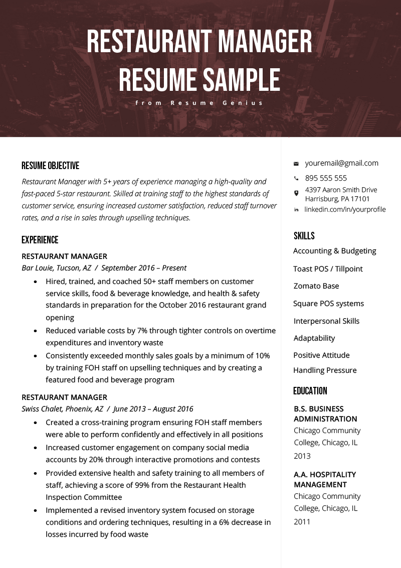 resume headline examples for hotel management