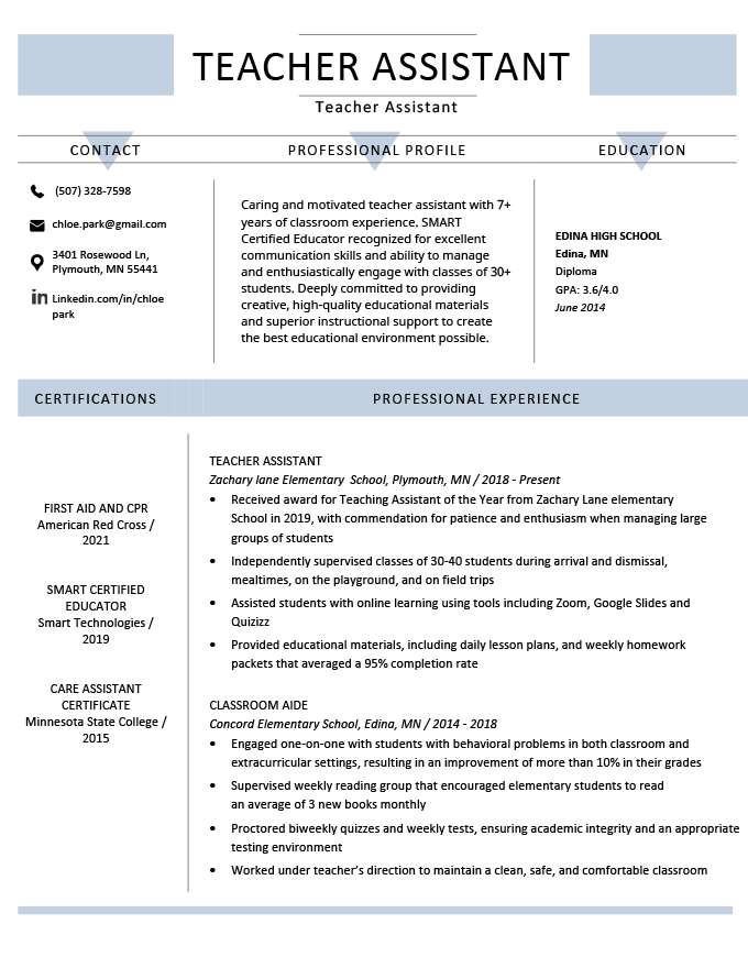 resume samples for preschool teachers aide