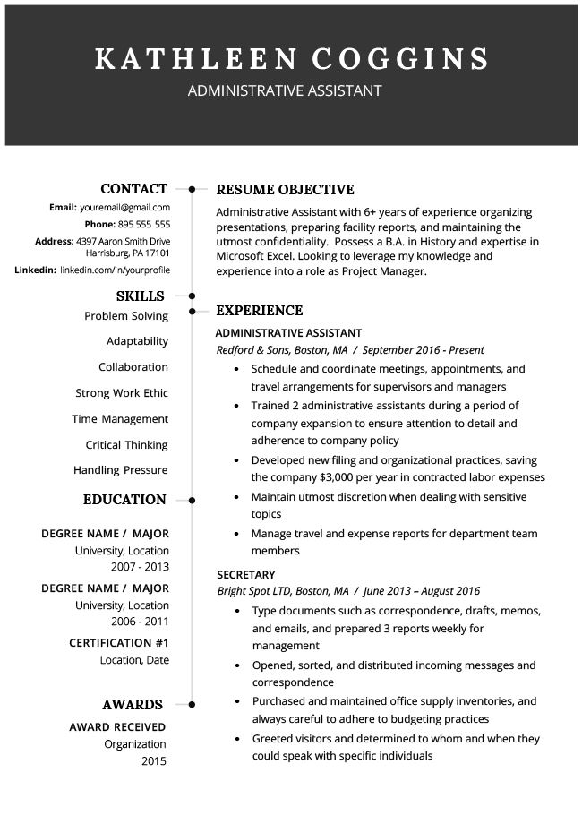 example of a well written resume objective