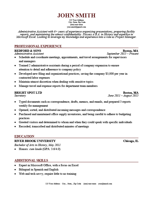 resume sample with horizontal lines