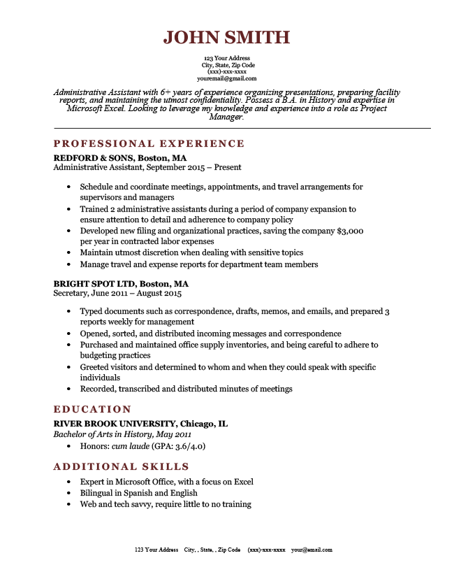 resume styles in canada