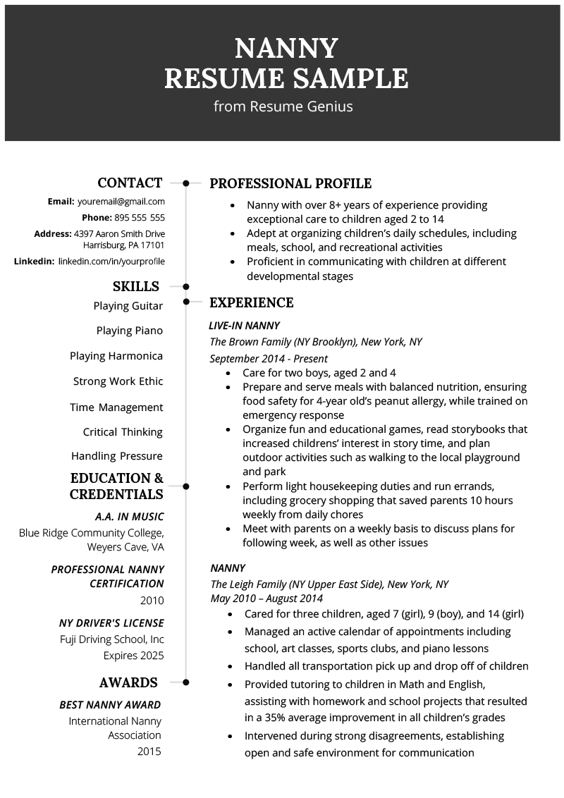 examples of nanny resume when pivoting to a new career