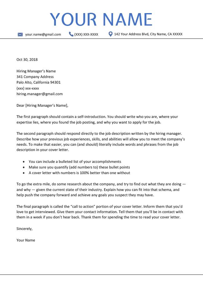 cover letter paragraph format